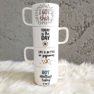 ClearOut Item Indigo Motivational Set of 4 Stackable Coffee Mugs